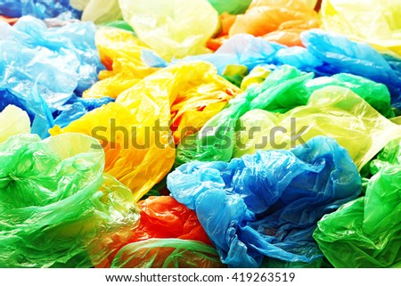 A lot of colorful plastic bags - stock photo