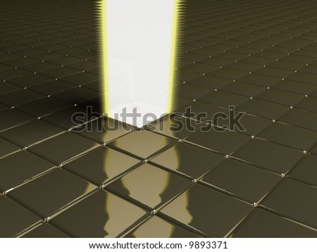 a lot of cubes with light beam - stock photo