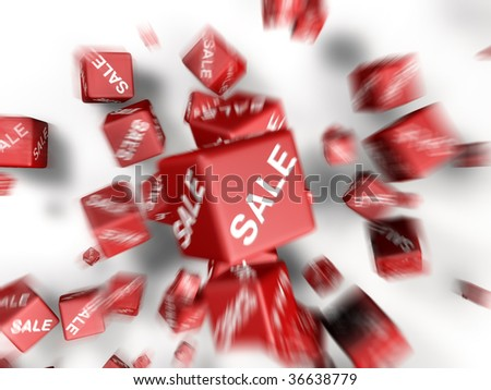 a lot of cubes with sale word on side falling together - stock photo