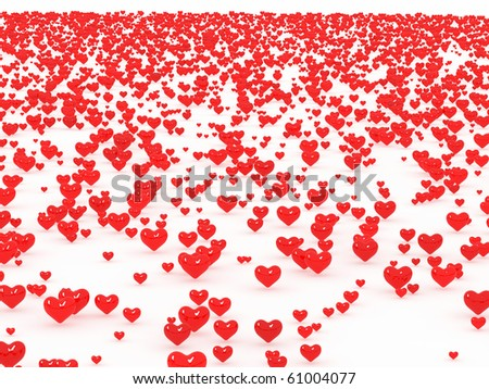 A lot of 3d hearts on white background - stock photo