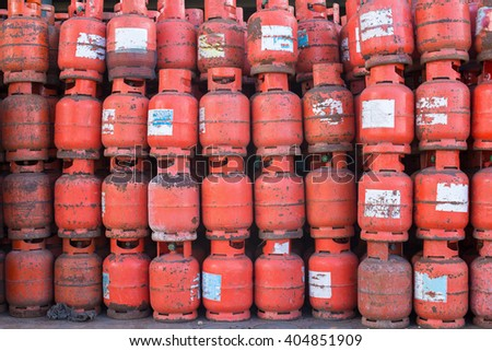a lot of Danger gas bottle. - stock photo