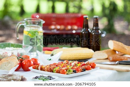 A lot of delicious food and drinks before barbecue garden party - stock photo