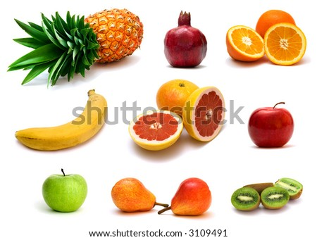 a lot of delicious fresh fruits on white background - stock photo