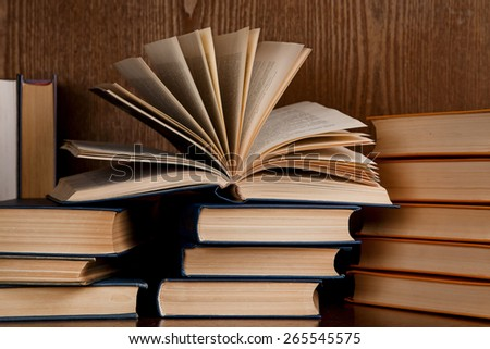 A lot of different old books - stock photo