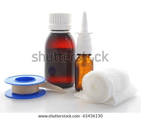 a lot of different pharmaceutical products isolated on white backgound