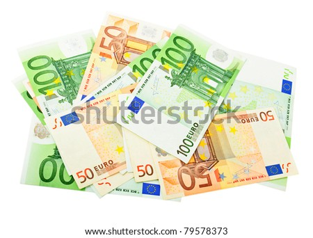 A lot  of  euro banknotes isolated on white - stock photo