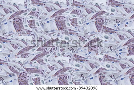 A lot of 500 euro bills filling the plane. - stock photo