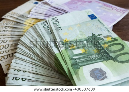 A lot of euro money - stock photo