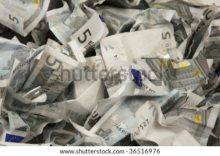 A lot of 5 euros bills - stock photo