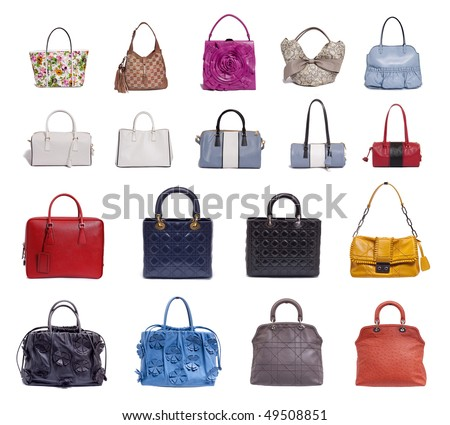 a lot of fashion bags on white background - stock photo