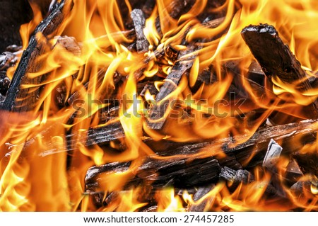 A lot of fire close in fireplace with burning wood, close up - stock photo