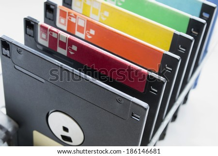 A lot of floppy disks closeup as a background