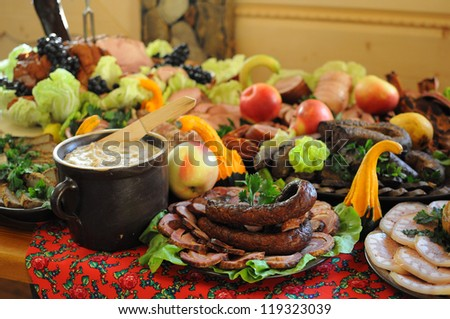 A lot of food on the table - stock photo