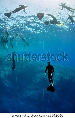 A lot of freedivers train in the depth of Blue Hole - stock photo