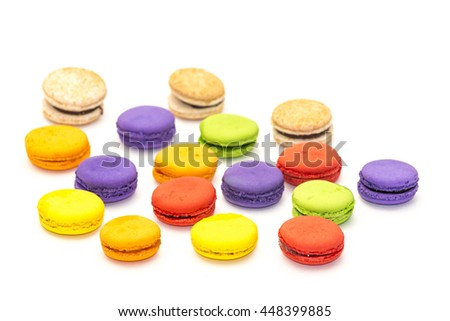 A lot of french colorful macarons on the table