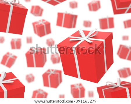 A lot of gift boxes on white. Gifts rain. Illustration with DOF effect.