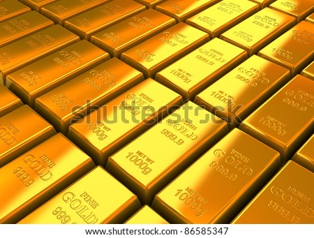 A lot of Gold Bars on the floor. - stock photo