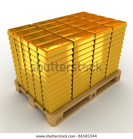 A lot of Gold Bars on the pallet. - stock photo