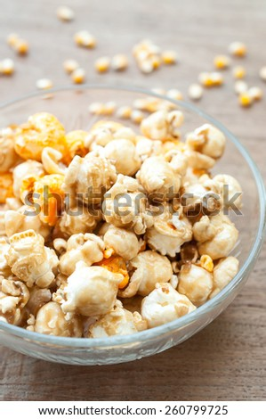 a lot of golden caramel corn close up - stock photo