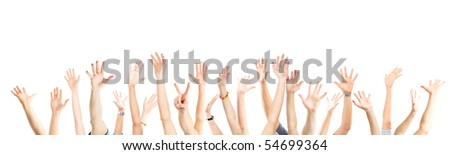 A lot of hands. Isolated over white background - stock photo
