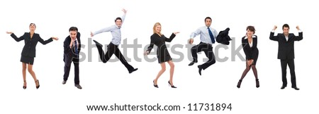 a lot of happy business people with different expressions - stock photo