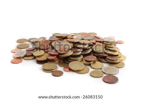 A lot of hardcash. All isolated on white background.