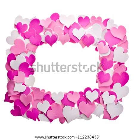 a lot of hearts in different colors. laid out in the form of ornament as a frame.  isolated on white background