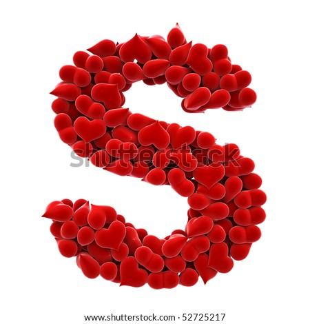 S Alphabet Letter In Heart lot of hearts of velvet in...