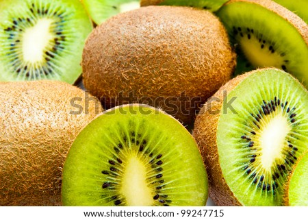 a lot of kiwi as a background - stock photo