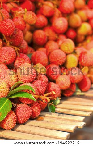 A lot of lychee in the markets - stock photo