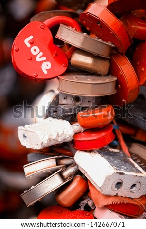 a lot of marriage love locks - stock photo