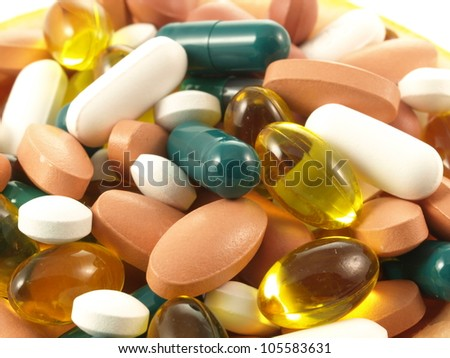 A lot of medication in close up - stock photo