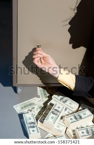 A lot of money from the safe - stock photo