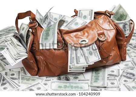 A lot of money in the bag. Dollars - stock photo