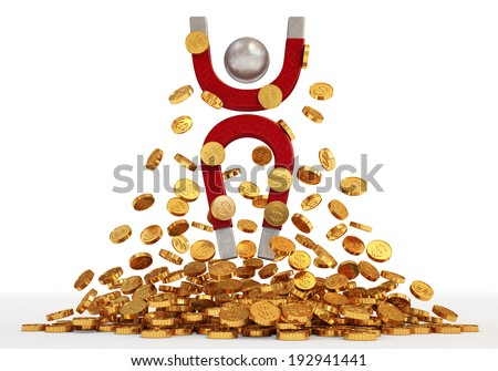 A lot of money. Magnet and money - stock photo