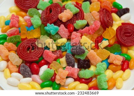 A lot of multicolor candies for background - stock photo