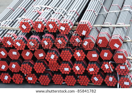 a lot of new pipes as background - stock photo