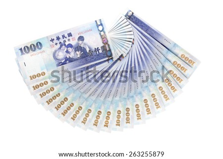 A lot of 1000  New Taiwan Dollars bill on white background