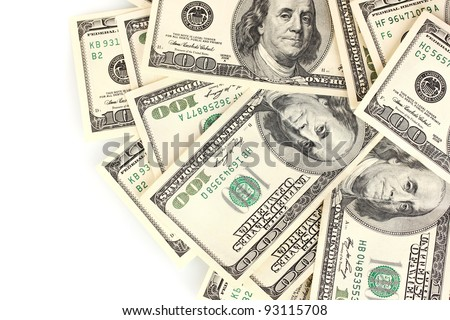 A lot of one hundred dollar bills isolated on white - stock photo