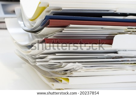 a lot of papers. office scene. - stock photo