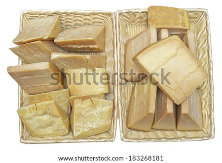 a lot of parmesan cheese on white background - stock photo