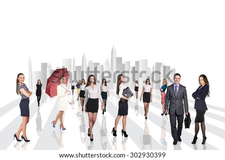 A lot of people in office clothes outdoors - stock photo