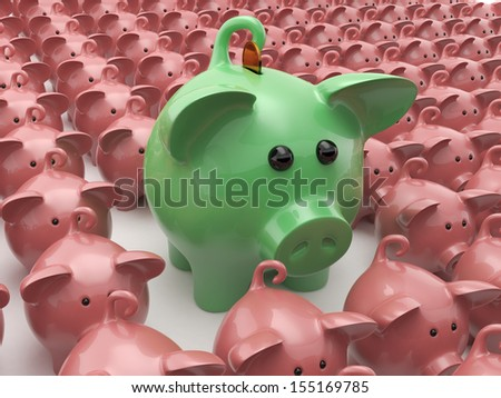 A lot of pigs lined up in a row and in the center of the main pig - stock photo