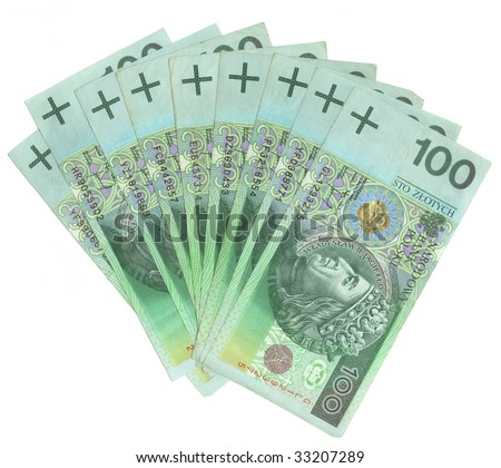 A lot of polish money isolated on white - stock photo