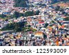 A lot of poor houses in Sao Paulo. View from Pico da Jaragua. Brazil - stock photo