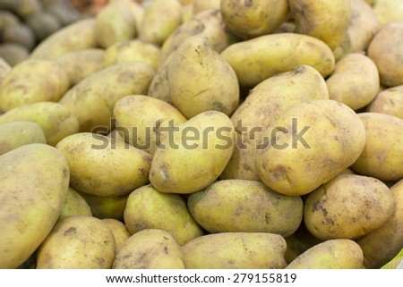 a lot of potatoes closeup side view - stock photo