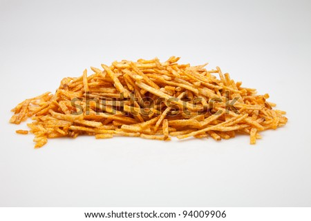 a lot of potatoes fried in oil - stock photo