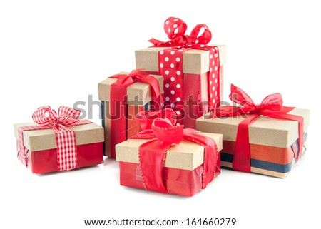 A lot of presents, for celebrating birthday's and christmas, on a white background