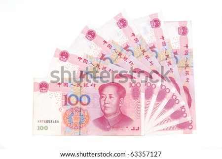 A lot of Renminbi on white  background
