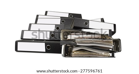 A lot of ring binders isolated on white- database concept - stock photo